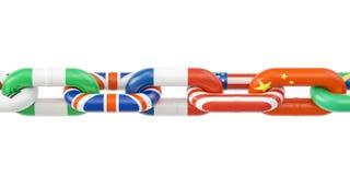 Concept international de télécommunication mondiale Chaîne des pays illustration stock