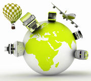 Concept of international tourism. Types of transport on a globe. Royalty Free Stock Photo