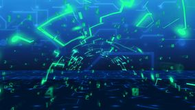 Concept of Internet business in progress. Abstract technology Tunnel from imitation of circuit board and digital numbers. Concept of Internet business in Royalty Free Stock Photography