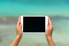 Concept of internet and communication. blank empty tablet comput Stock Photo