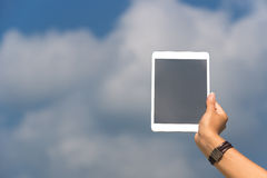 Concept of internet and communication. blank empty tablet comput Royalty Free Stock Images