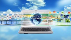 Internet Laptop. A concept of Internet connected Laptop for multimedia sharing and business application Stock Photography