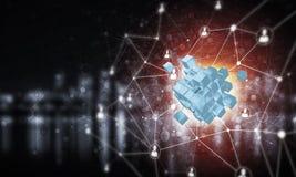 Concept Internet en voorzien van een netwerk met digitaal kubuscijfer aangaande D Stock Afbeeldingen