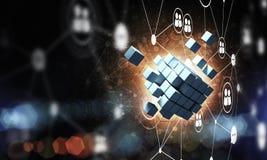 Concept Internet en voorzien van een netwerk met digitaal kubuscijfer aangaande D Royalty-vrije Stock Afbeelding