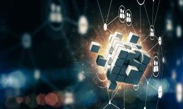 Concept Internet en voorzien van een netwerk met digitaal kubuscijfer aangaande D Royalty-vrije Stock Foto