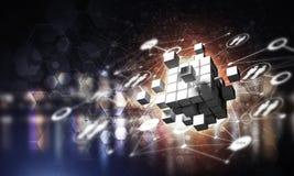 Concept Internet en voorzien van een netwerk met digitaal kubuscijfer aangaande D Stock Foto