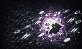 Concept Internet en voorzien van een netwerk met digitaal kubuscijfer aangaande D Stock Foto's