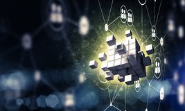 Concept Internet en voorzien van een netwerk met digitaal kubuscijfer aangaande D Royalty-vrije Stock Afbeeldingen