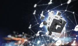 Concept Internet en voorzien van een netwerk met digitaal kubuscijfer aangaande D Stock Afbeelding