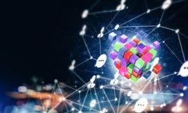 Concept Internet en voorzien van een netwerk met digitaal kubuscijfer aangaande D Royalty-vrije Stock Foto's