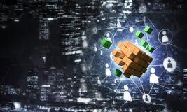 Concept Internet en voorzien van een netwerk met digitaal kubuscijfer aangaande D Royalty-vrije Stock Fotografie