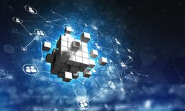 Concept Internet en voorzien van een netwerk met digitaal kubuscijfer aangaande donkere achtergrond Royalty-vrije Stock Afbeelding