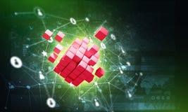 Concept Internet en voorzien van een netwerk met digitaal kubuscijfer aangaande donkere achtergrond Stock Afbeelding