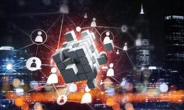 Concept Internet en voorzien van een netwerk met digitaal kubuscijfer aangaande donkere achtergrond Royalty-vrije Stock Afbeeldingen