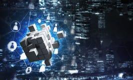 Concept Internet en voorzien van een netwerk met digitaal kubuscijfer aangaande donkere achtergrond Stock Foto's