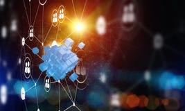 Concept Internet en voorzien van een netwerk met digitaal kubuscijfer aangaande donkere achtergrond Stock Fotografie
