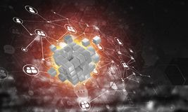Concept Internet en voorzien van een netwerk met digitaal kubuscijfer aangaande donkere achtergrond Royalty-vrije Stock Foto