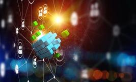 Concept Internet en voorzien van een netwerk met digitaal kubuscijfer aangaande donkere achtergrond Stock Afbeeldingen
