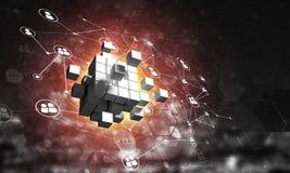 Concept Internet en voorzien van een netwerk met digitaal kubuscijfer aangaande donkere achtergrond Stock Foto