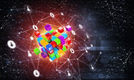Concept of Internet and networking with digital cube figure on dark background Stock Photography