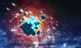 Concept of Internet and networking with digital cube figure on dark background. Conceptual background image with cube figure and social connection lines. 3d Stock Photos