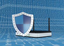 Concept of internet safety. One modem router with a shield, concept of internet security (3d render Stock Photography