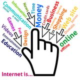 Concept of Internet in some words Stock Image
