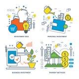 Concept investeringsidee, persoonlijk en zaken, betalingsmethodes vector illustratie