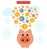 Concept of Investment Banking. Collect Finance. Concept of investment banking. Collect of finance. Money finance, bank and growth earnings, piggy and cash coin Stock Image