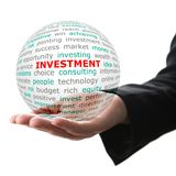 Concept of investment in business. Words on the transparent ball in the hand Royalty Free Stock Photography