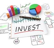 Concept of investment. 3D Illustration concept of investment, finance, banking, analyze data, financial planning, stock market, strategic management. Sketches Stock Photos