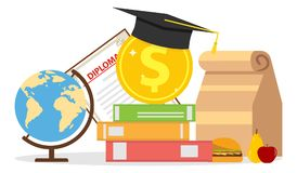 The concept of investment in education. Globe, diploma, textbooks, graduate hat. Flat design, vector illustration, vector Royalty Free Illustration