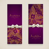 Concept of invitation card with floral decoration. Stock Photo