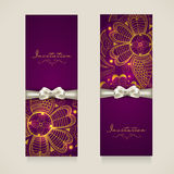 Concept of invitation card with floral decoration. Stock Photography