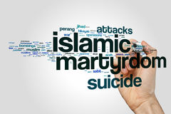 Concept islamique de nuage de mot de martyre photo stock