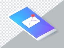 Concept isométrique avec le smartphone et les messages entrants Nouveau courrier, sms avis d'email Illustration de vecteur illustration de vecteur