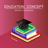 Concept isométrique d'éducation et de vecteur d'obtention du diplôme 3d de nouveau au Sc Images stock