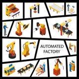 Concept isométrique d'éléments d'usine automatisée illustration libre de droits