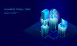 Concept isométrique d'affaires de pièce de monnaie de cryptocurrency d'Internet Finances isométriques rougeoyantes de pièce de mo illustration stock