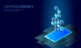 Concept isométrique d'affaires de pièce de monnaie de cryptocurrency d'Internet Finances isométriques rougeoyantes de pièce de mo illustration de vecteur