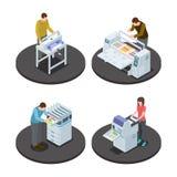 Concept isométrique d'icônes de maison impression avec des types illustration de grand format rotatoire numérique et de productio illustration libre de droits