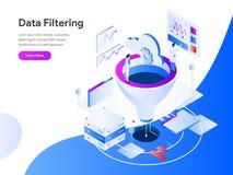 Concept isométrique d'illustration de filtrage de données r Vecteur illustration libre de droits
