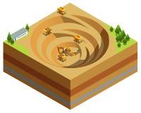 Concept isométrique d'industrie minière illustration de vecteur