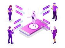 Concept isométrique d'intelligence artificielle Concept d'AI et d'affaires IOT Homme communiquant avec le chatbot par l'intermédi illustration stock