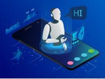 Concept isométrique de bot de professeur de Sciences L'intelligence artificielle, intelligence d'expertise de la connaissance app Photo stock