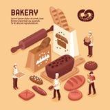 Concept isométrique de boulangerie illustration de vecteur