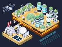 Concept isométrique de colonisation de l'espace illustration libre de droits