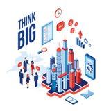 Concept isométrique de communication de succès de technologie de gens d'affaires et d'icônes de ville Image libre de droits