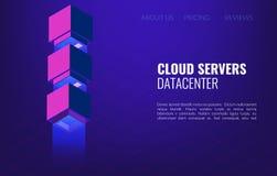 Concept isométrique de Datacenter de grandes données fond de pièce du serveur principal 3d ou du centre de traitement des données illustration stock