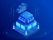 Concept isométrique de mise en réseau de technologies de nuage Affaires de technologie de nuage de Web Services de données d'Inte illustration de vecteur